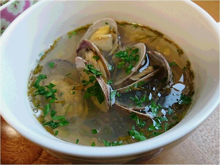 アカモクとアサリのスープ アップ