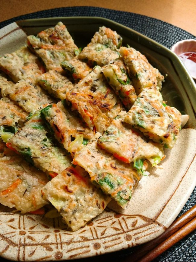 アカモクとたっぷり野菜のもちもちチヂミ アップ
